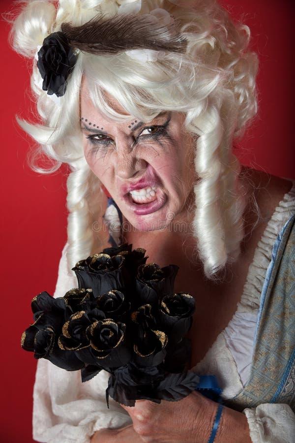 Mulher vestida como Marie assustador Antoinette imagens de stock royalty free