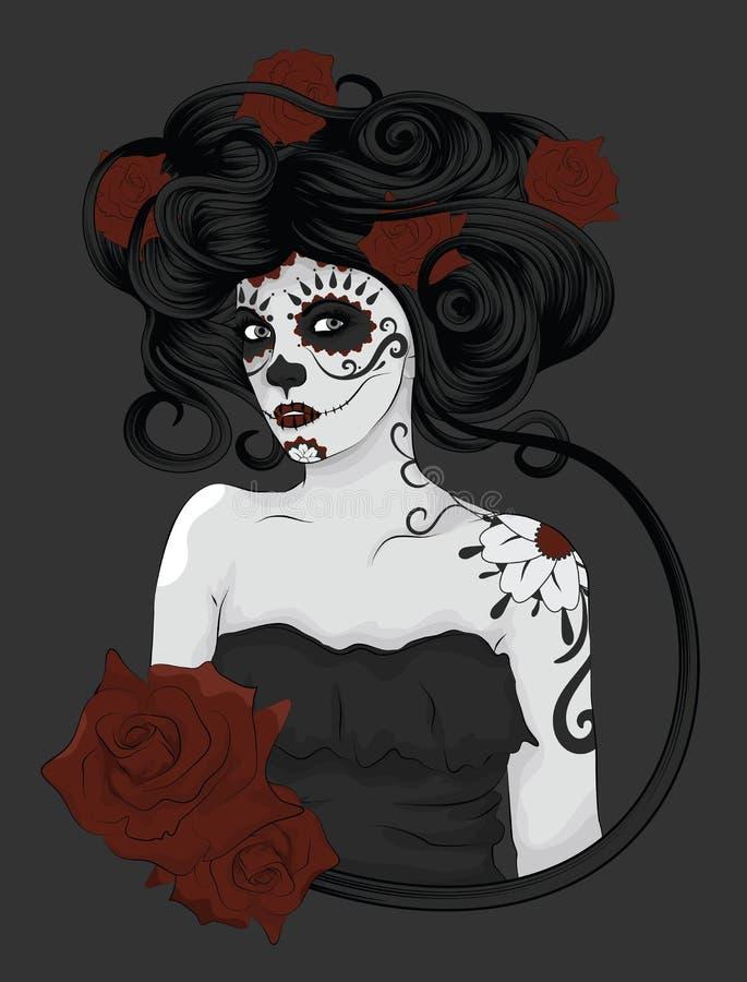 Mulher vestida como o La Calavera Catrina ilustração stock