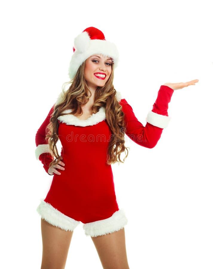 Mulher vestida como Santa fotos de stock royalty free