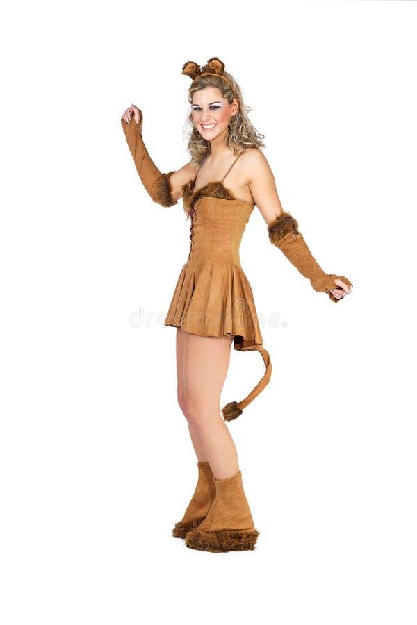 Mulher vestida como um gato fotos de stock