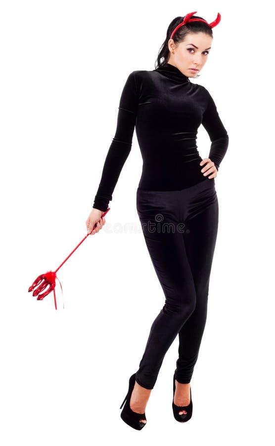 Mulher vestida como um imp fotografia de stock