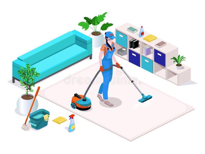 A mulher vestida no uniforme limpa e limpa, lava o assoalho na casa e limpa-o Serviço de limpeza profissional com equipamento ilustração do vetor