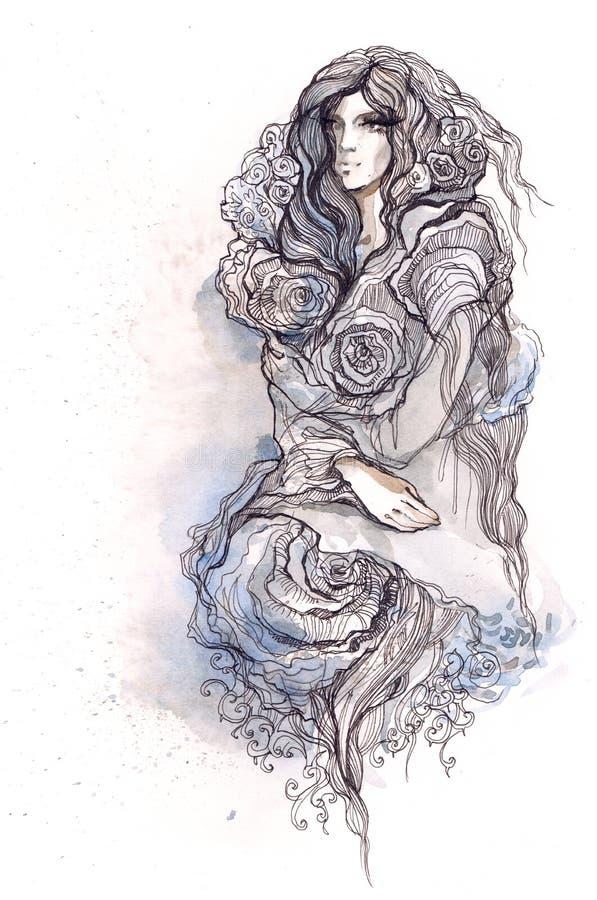 A mulher vestiu-se em flores das rosas ilustração do vetor