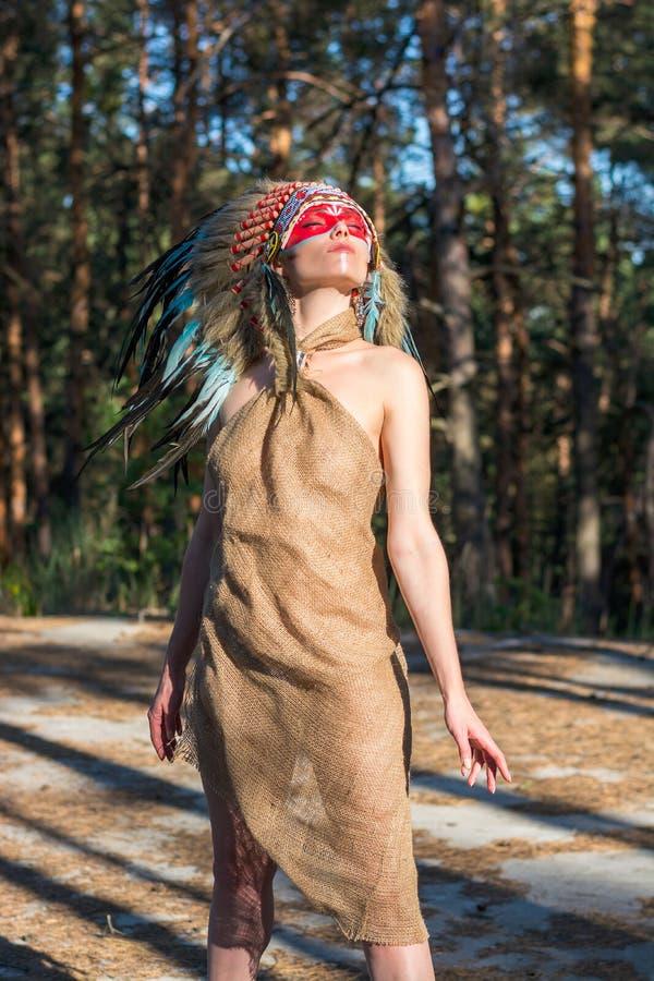 A mulher vestiu-se em um estilo indiano com os olhos fechados nas madeiras imagem de stock