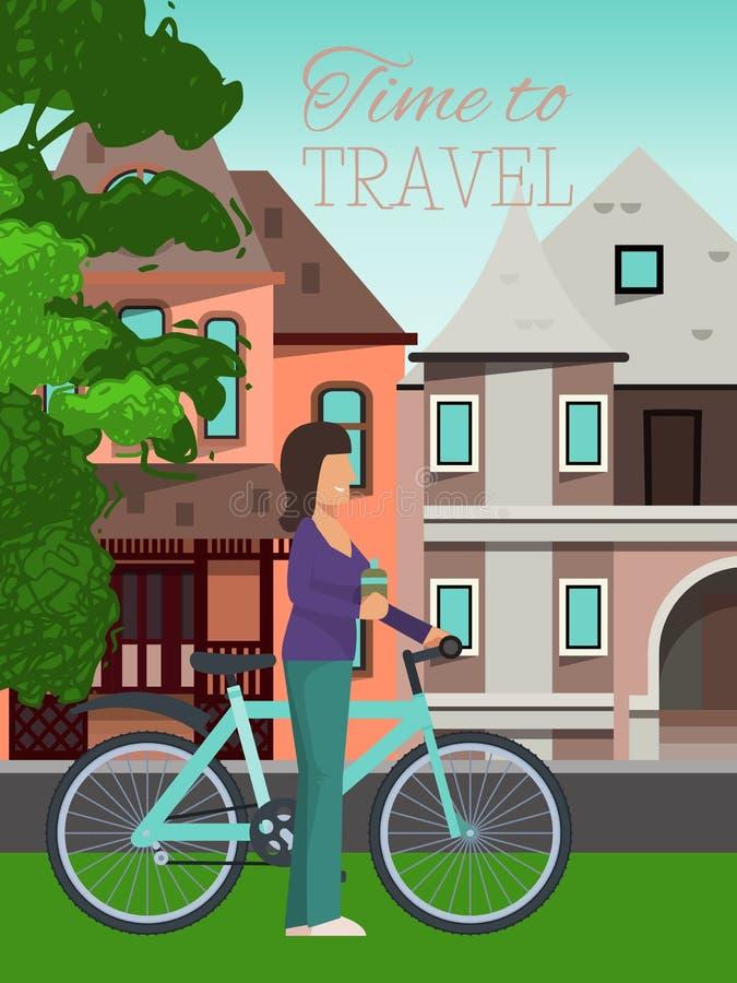 A mulher viaja ilustração de montada do vetor do cartaz da bicicleta Estilo de vida saudável, atividades exteriores Hora de viaja ilustração stock