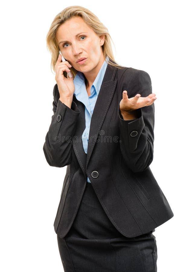 A mulher video do telefone celular da mensagem infeliz amadurece-se isolado no wh fotos de stock