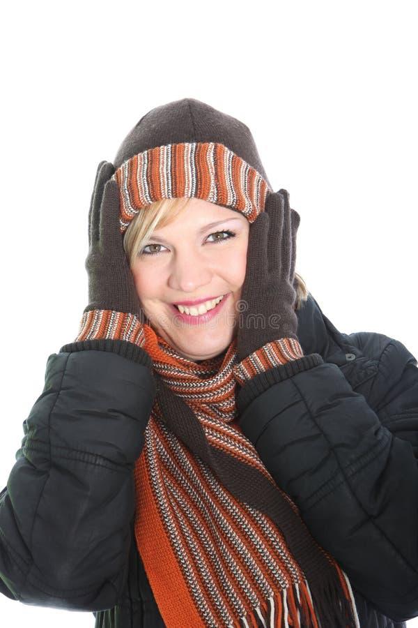 Mulher Vivacious na forma do inverno fotos de stock