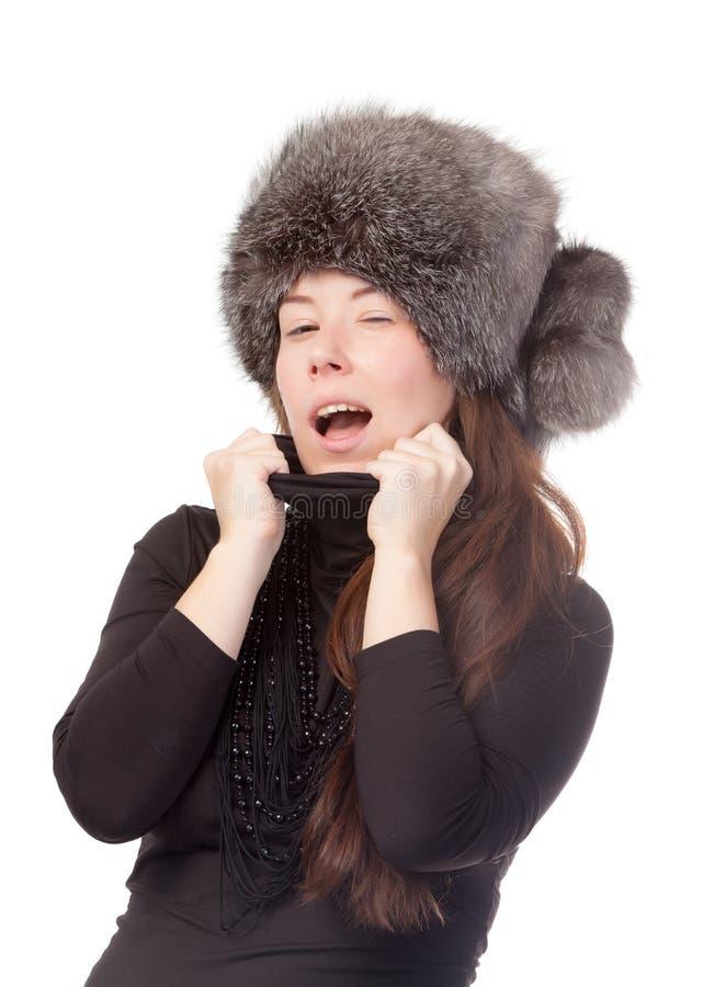 Mulher Vivacious no equipamento do inverno foto de stock royalty free