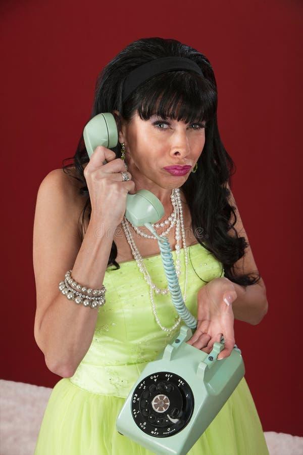 Mulher Weeping no telefone imagem de stock royalty free