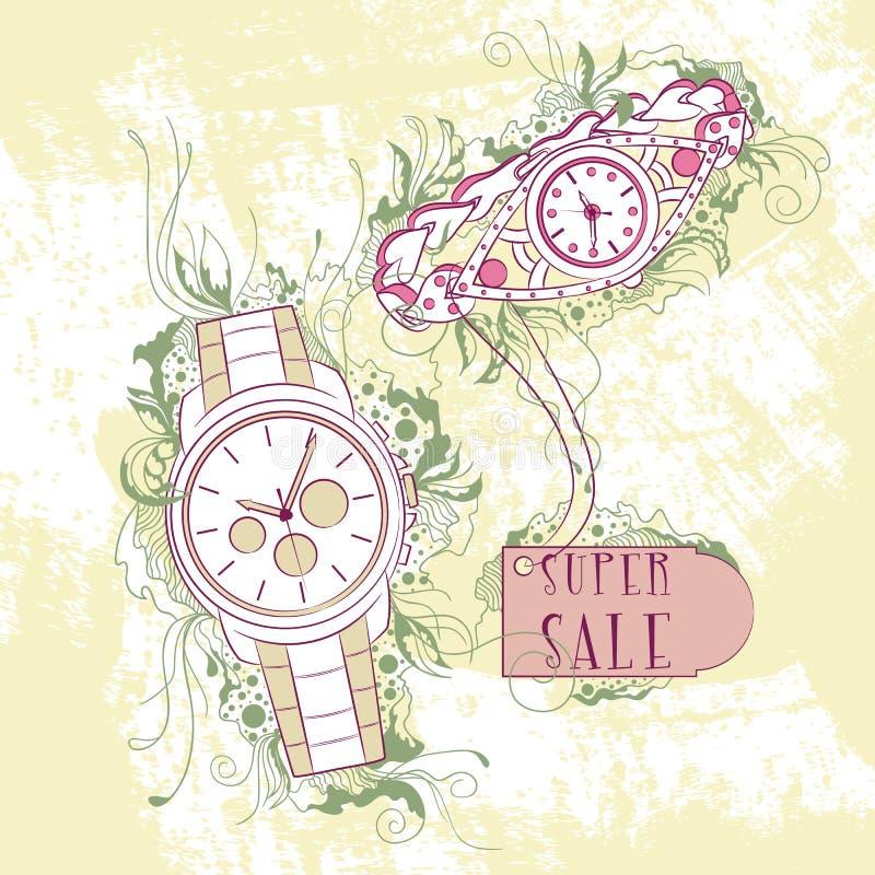 Mulheres à moda decorativas da ilustração e relógios dos homens ilustração royalty free