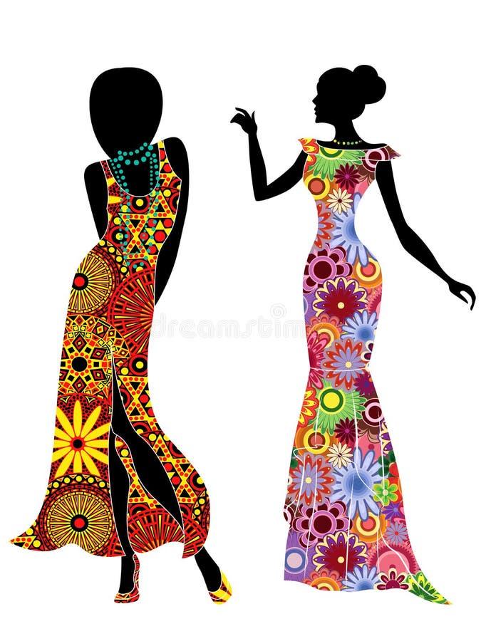 Mulheres à moda delgadas em vestidos étnicos longos ilustração do vetor