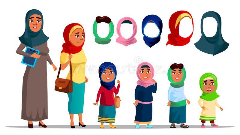 Mulheres árabes dos caráteres que vestem o vetor de Hijab ilustração royalty free