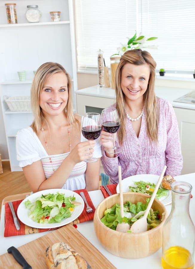 Mulheres adoráveis que clinking vidros do vinho vermelho imagem de stock royalty free
