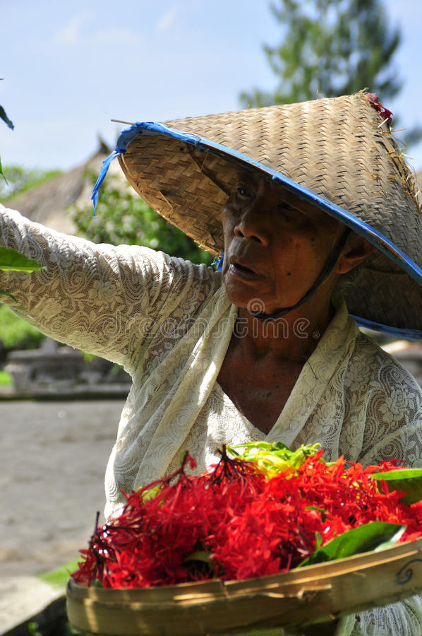 Mulheres adultas com o chapéu asiático que faz ofertas aos deuses foto de stock royalty free