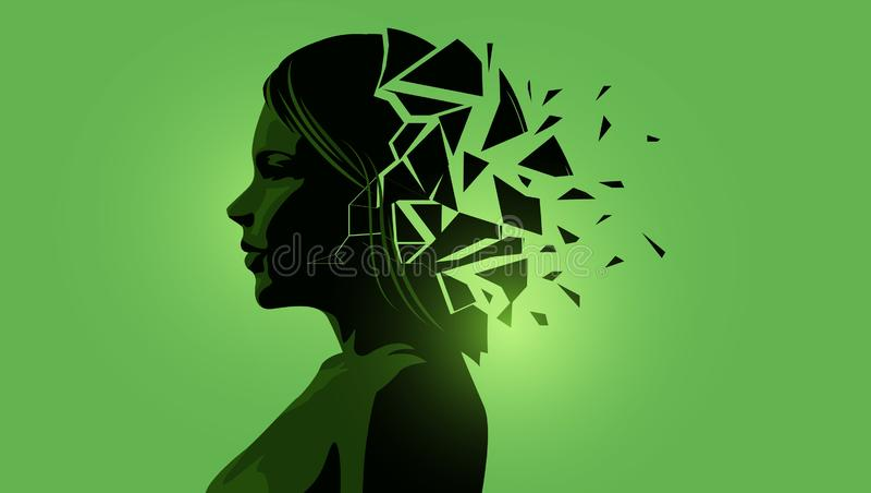 Mulheres adultas com uma mente fraturada ilustração stock