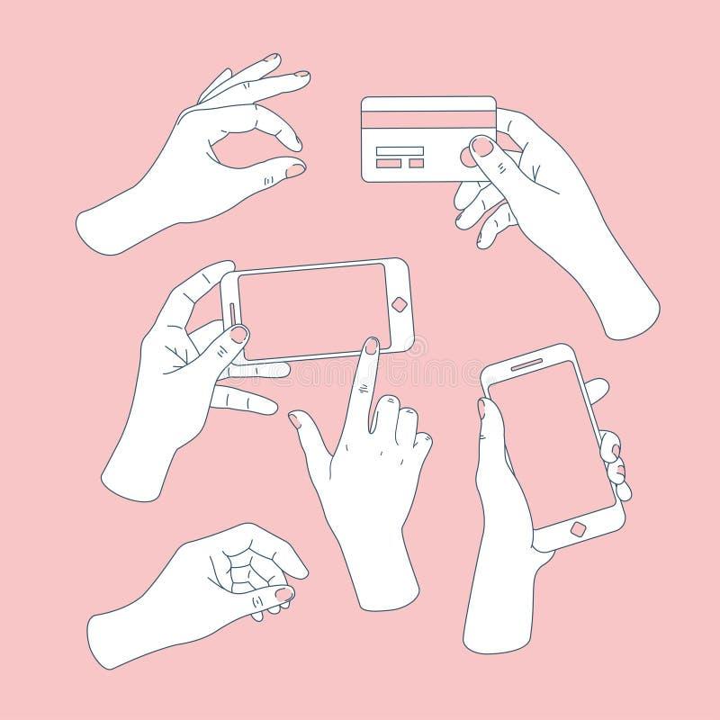Mulheres ajustadas das mãos Mãos que guardam o smartphone e o cartão de crédito Desenho da mão Ilustração do vetor ilustração royalty free