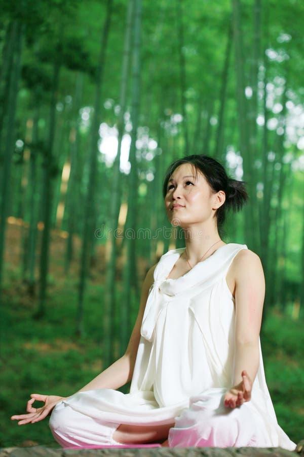 Mulheres asiáticas novas que fazem a IOGA imagem de stock royalty free