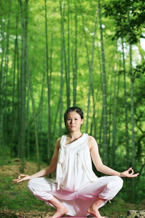 Mulheres asiáticas novas que fazem a IOGA fotos de stock