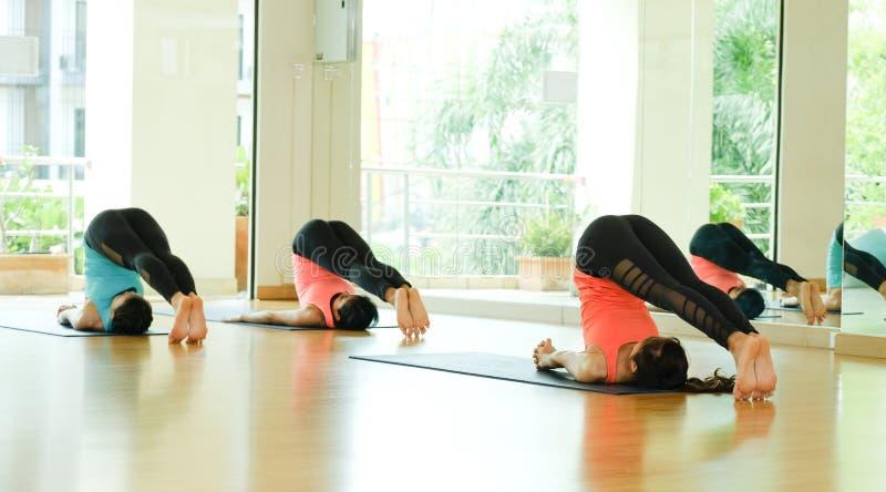Mulheres asiáticas novas que praticam a meditação da ioga, estilo de vida saudável, foto de stock royalty free