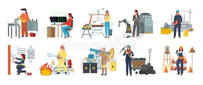 Mulheres, bombeiro e desenhista modernos Workman ilustração royalty free