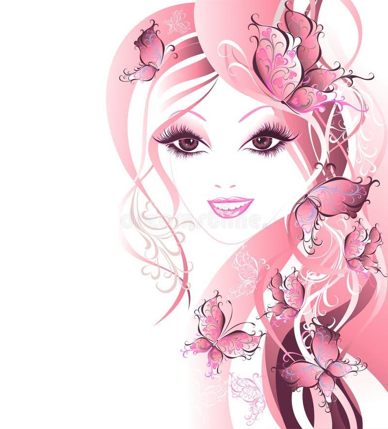 Mulheres bonitas com as borboletas no cabelo ilustração royalty free