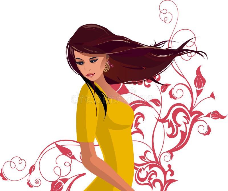 Mulheres bonitas com flores. ilustração royalty free