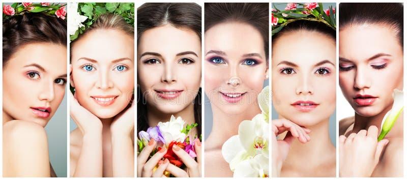 Mulheres bonitas com flores Face perfeita imagem de stock