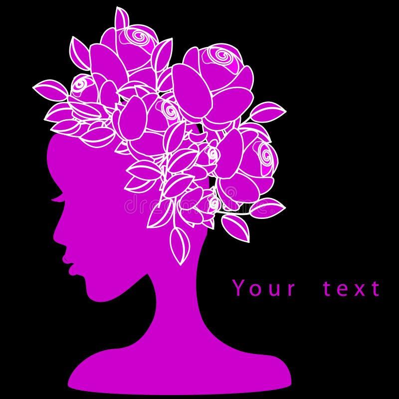 Mulheres bonitas da forma com cabelo da flor ilustração stock