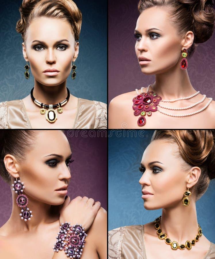 Mulheres bonitas na joia e na composição foto de stock