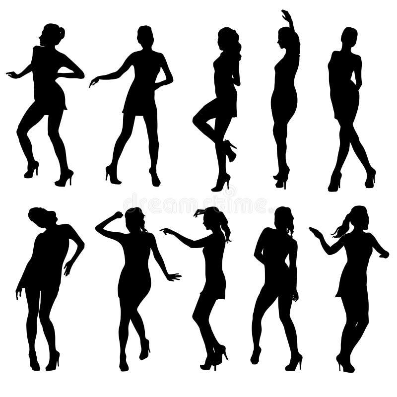 Mulheres bonitas que dançam a silhueta isolada ilustração royalty free
