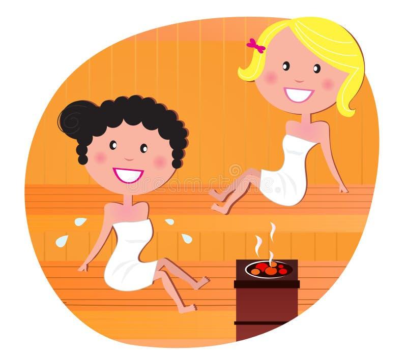 Mulheres bonitos/amigos que relaxam em uma sauna quente ilustração royalty free