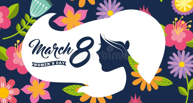 Mulheres brancas do cabelo da cabeça da mulher da silhueta dia fundo floral do 8 de março ilustração do vetor