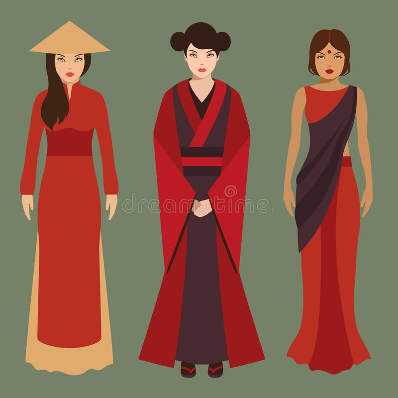 Mulheres chinesas, japonesas e indianas ilustração stock
