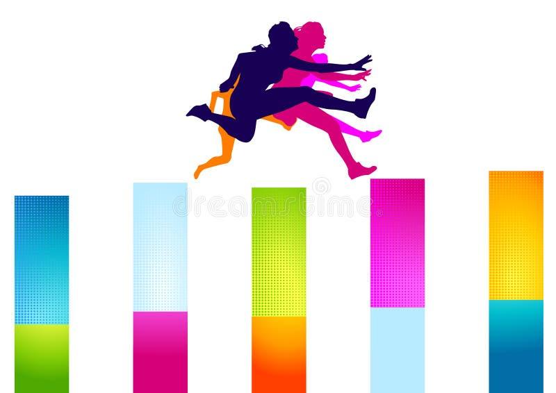 Mulheres coloridas dos obstáculos ilustração royalty free