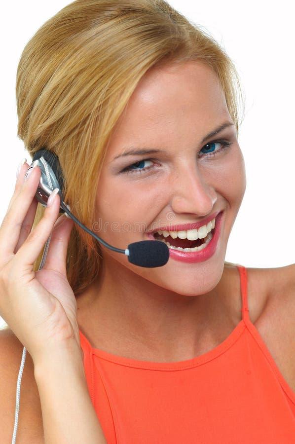 Mulheres com auriculares fotografia de stock royalty free