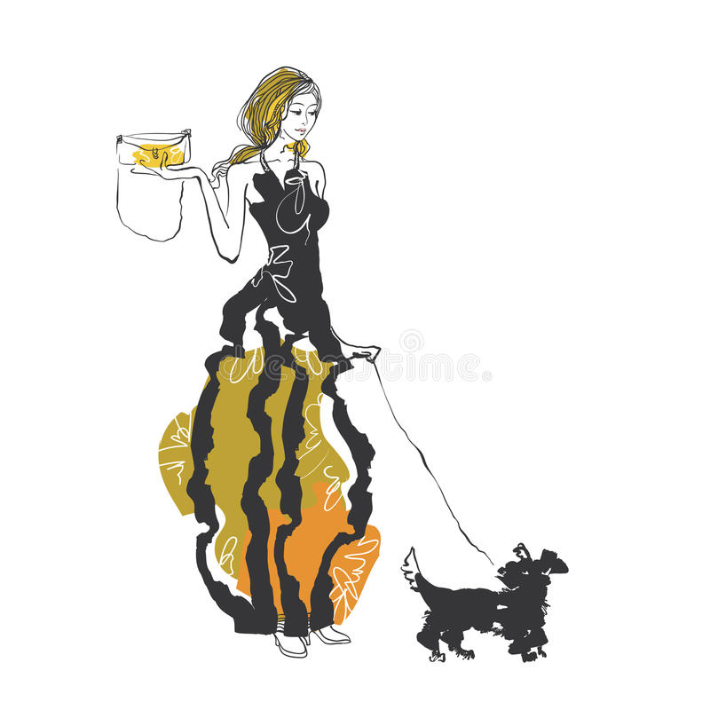 Mulheres com cão ilustração stock