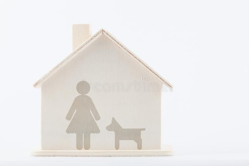 Mulheres com cão em casa imagem de stock