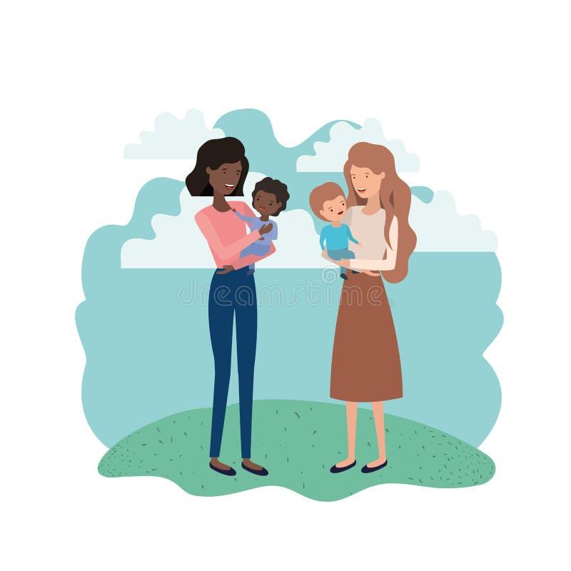 Mulheres com caráter do avatar das crianças ilustração royalty free