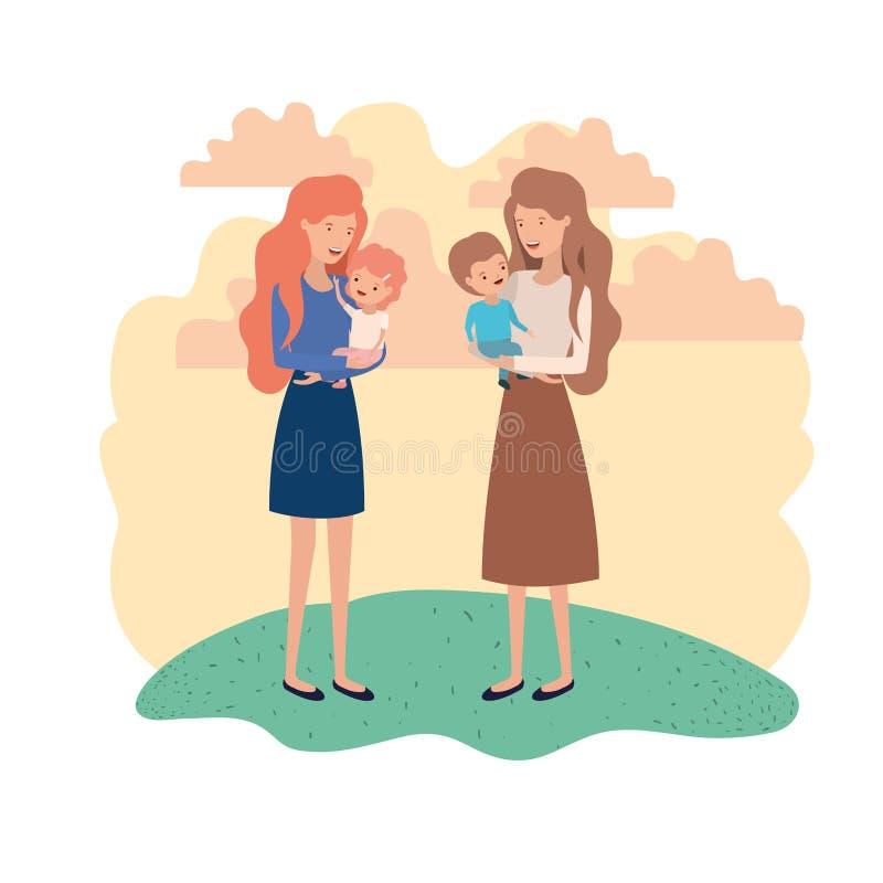 Mulheres com caráter do avatar das crianças ilustração do vetor