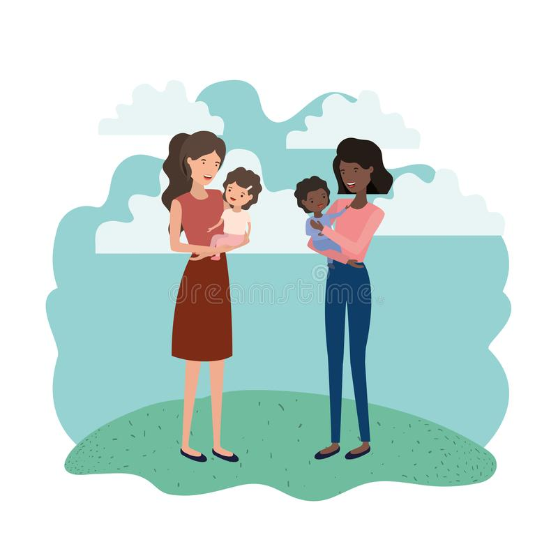 Mulheres com caráter do avatar das crianças ilustração stock