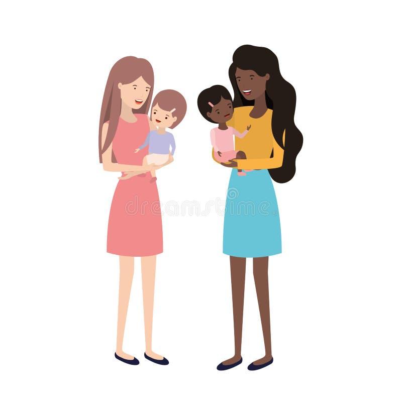 Mulheres com car?ter do avatar das crian?as ilustração do vetor