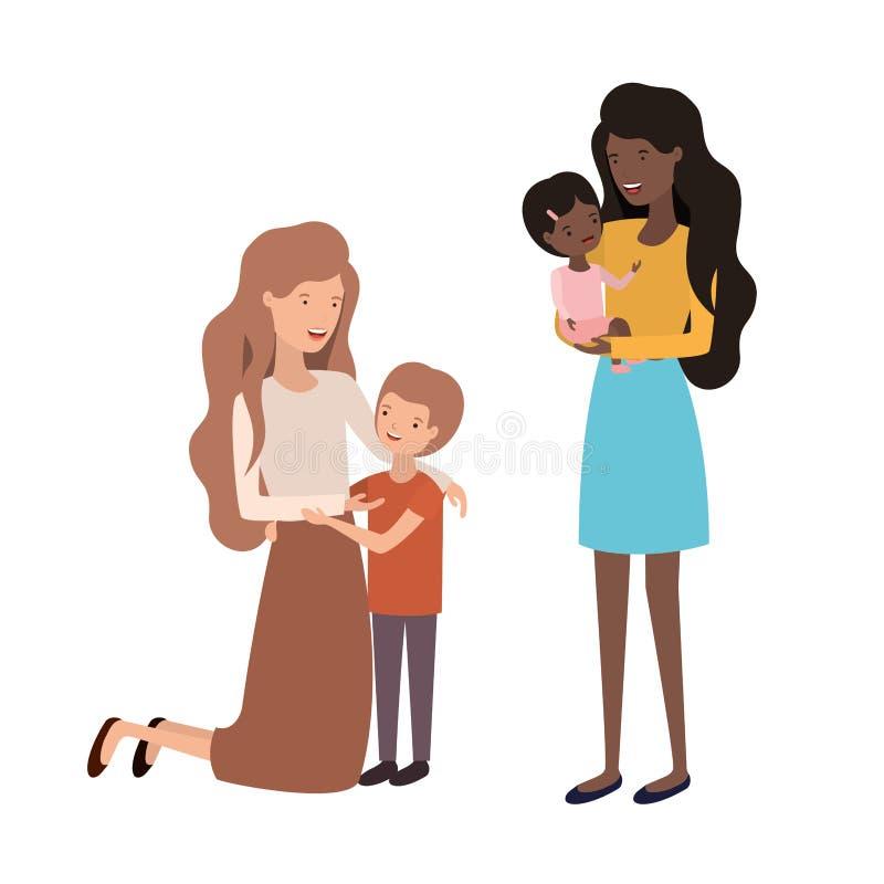 Mulheres com car?ter do avatar das crian?as ilustração royalty free