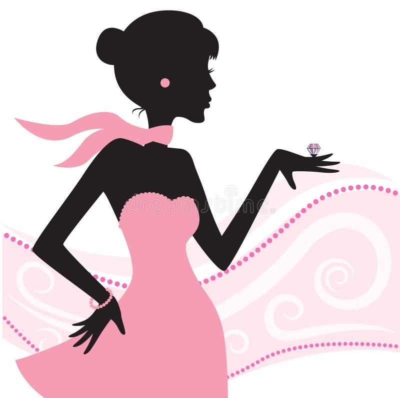 Mulheres com jóia ilustração stock