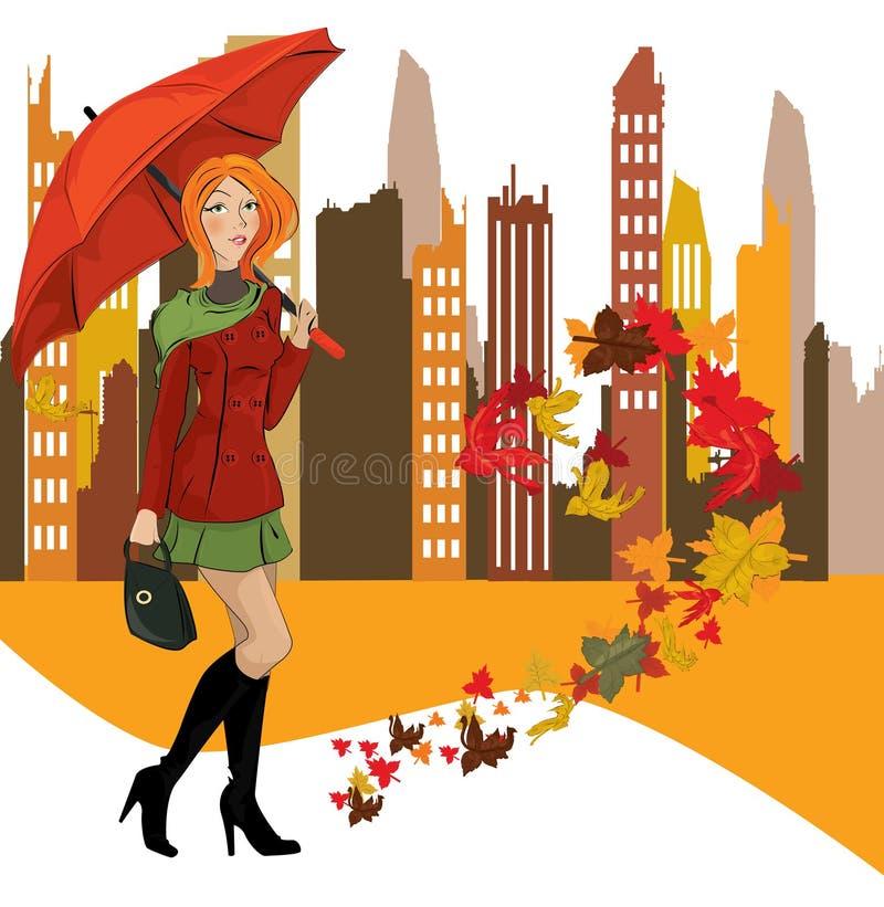 Mulheres com o guarda-chuva na cidade ilustração stock