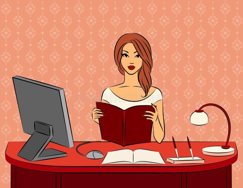 Mulheres com o livro no escritório. ilustração stock