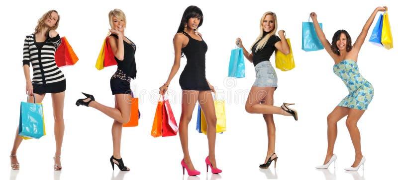 Mulheres com sacos de compra foto de stock
