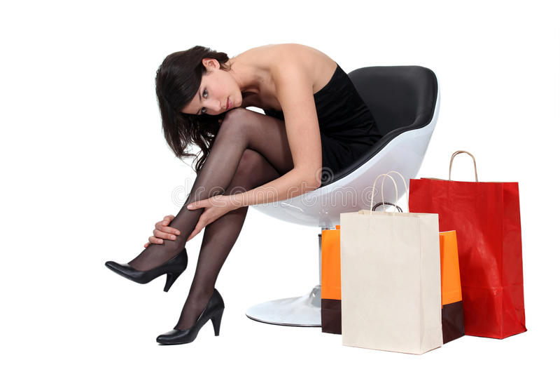Mulheres com sacos de compras imagens de stock