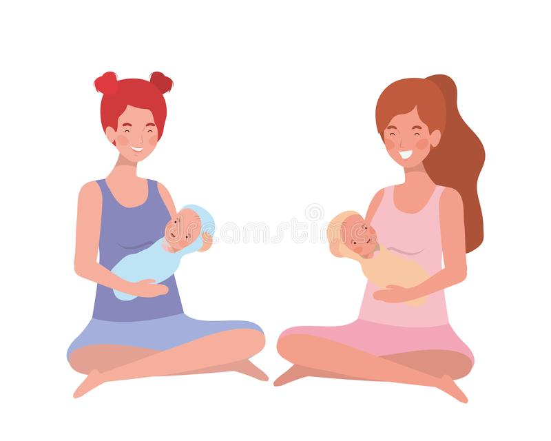 Mulheres com um bebê recém-nascido em seus braços ilustração royalty free