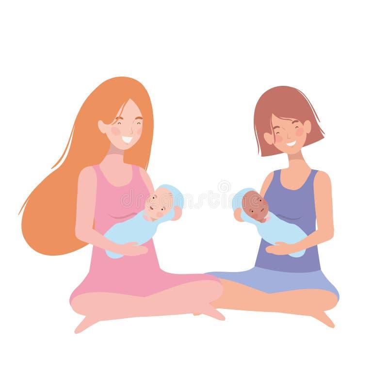 Mulheres com um bebê recém-nascido em seus braços ilustração stock