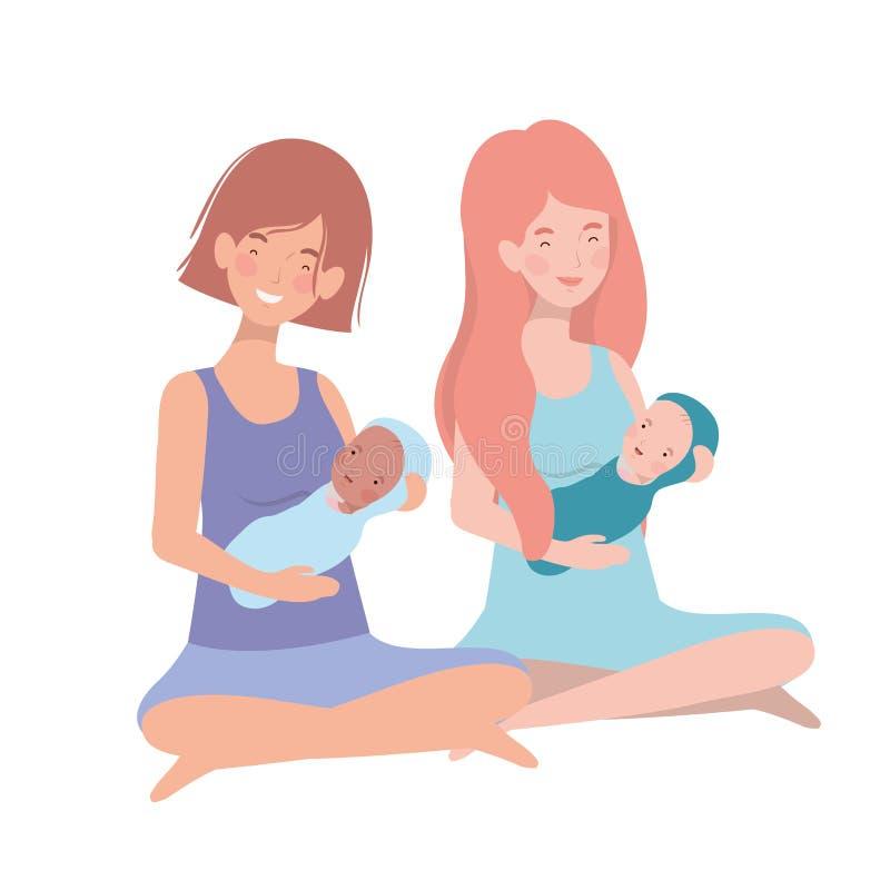 Mulheres com um bebê recém-nascido em seus braços ilustração do vetor